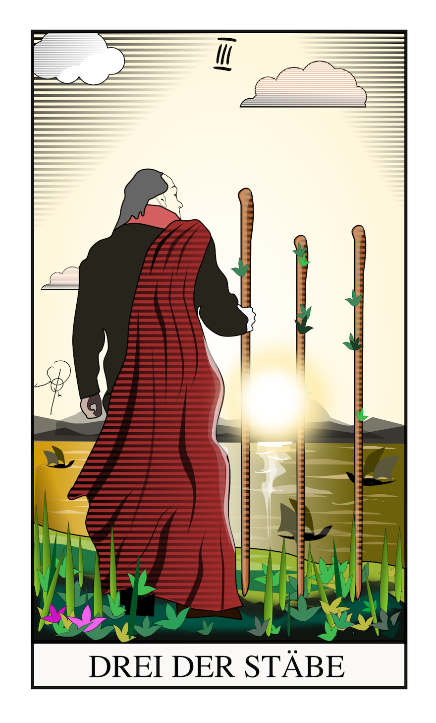 Tarot Drei der Stäbe