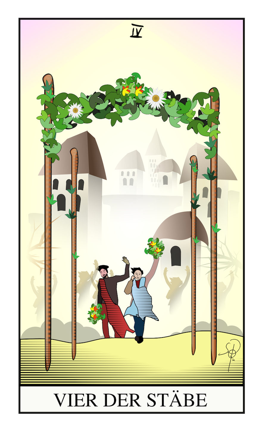 Tarot Vier der Stäbe