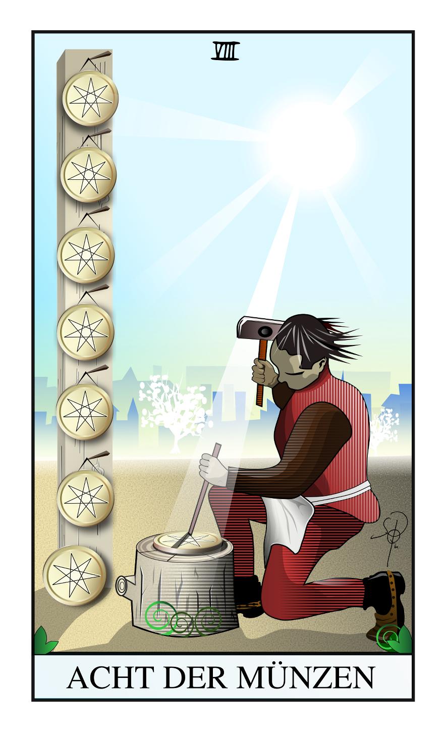 Tarot Acht der Münzen