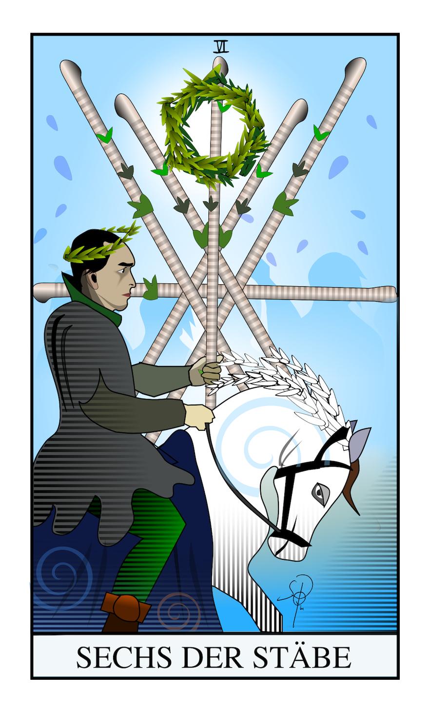 Tarot Sechs der Stäbe